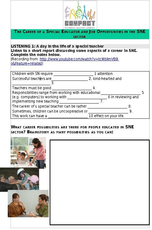Anglictina Pro Specialni Pedagogy Pracovni Listy Studijni