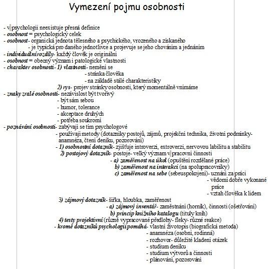 a3ae5a0c2f2 Vymezení pojmu osobnosti - poznámky   Poznámky   Zadani-seminarky.cz